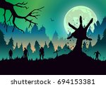 silhouette zombie arm reaching ... | Shutterstock .eps vector #694153381