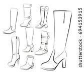 women's boots set. hand drawing ... | Shutterstock . vector #694153915