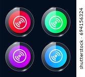 disc four color glass button ui ...