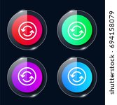 circle four color glass button...