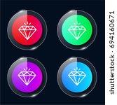diamond four color glass button ...