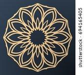 laser cutting mandala. golden... | Shutterstock .eps vector #694165405