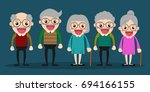 five senior people meeting and... | Shutterstock .eps vector #694166155