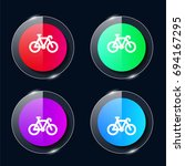 bicycle four color glass button ...