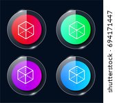 cube four color glass button ui ...