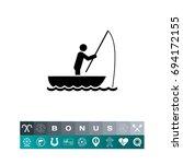 man in boat fishing icon