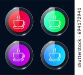 coffee four color glass button...