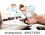 concept of blog. digital... | Shutterstock . vector #694173301