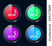 smoking four color glass button ...