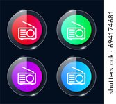 radio four color glass button...