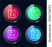 invoice four color glass button ...