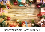 christmas treewith gifts ... | Shutterstock . vector #694180771