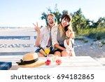 outdoor  fanny portrait of two... | Shutterstock . vector #694182865