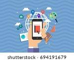 illustration  icon  flat icon ... | Shutterstock .eps vector #694191679