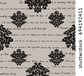 damask seamless pattern with... | Shutterstock . vector #694192411