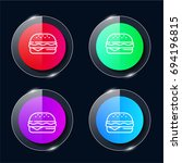 burger four color glass button...