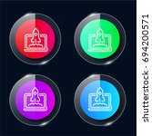 startup four color glass button ...