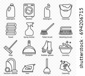 cleaning  wash line icons.... | Shutterstock . vector #694206715