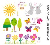 learn to count from 1 to 5... | Shutterstock .eps vector #694207201