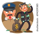 greed inspector checking up... | Shutterstock .eps vector #694209385
