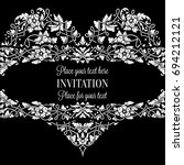 floral invitation card with... | Shutterstock . vector #694212121