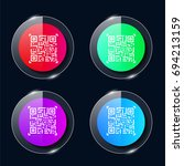 qr code four color glass button ...