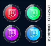 twitch four color glass button...
