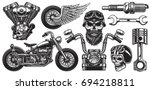 set of monochrome motorcycle... | Shutterstock .eps vector #694218811