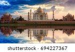 taj mahal   a white marble...   Shutterstock . vector #694227367