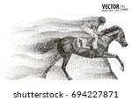 jockey on horse. champion.... | Shutterstock .eps vector #694227871