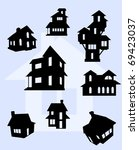Stock vector illustration of house silhouettes in black 69423037