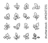 simple leaf line icon elements. | Shutterstock .eps vector #694247251