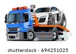cartoon tow truck isolated on... | Shutterstock .eps vector #694251025