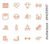 set of 16 bodybuilding outline... | Shutterstock .eps vector #694253947