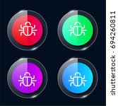 bug four color glass button ui...