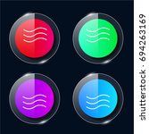 waves four color glass button...