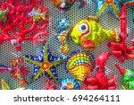 Small photo of Underwater life inspirited fridge magnets on sale, Amalfi Coast, Italy
