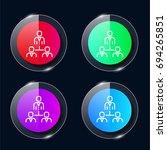group four color glass button...