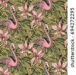 tropical pattern. graphic... | Shutterstock . vector #694272295