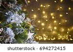 rustic holiday background with... | Shutterstock . vector #694272415