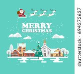 merry christmas and a happy new ... | Shutterstock .eps vector #694272637