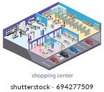 isometric interior shopping... | Shutterstock . vector #694277509