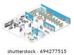 isometric interior shopping... | Shutterstock . vector #694277515