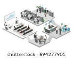 isometric flat 3d abstract... | Shutterstock . vector #694277905