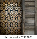 Traditional Thai flower pattern with wood slab Background - stock photo