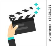 movie clapper board hold in... | Shutterstock .eps vector #694281391