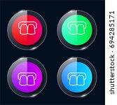 teeth four color glass button...