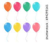 multicolored helium balloons.... | Shutterstock .eps vector #694295161