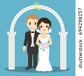 the bride and groom. young...   Shutterstock .eps vector #694298257