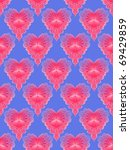 Seamless tile featuring a fading pink heart on a blue background. - stock photo